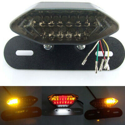 Universal Smoke Lens Motorcycle License Plate Tail Brake Stop Light 12V 20LED