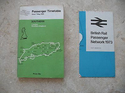 British Railways Southern Region Passenger Timetable May 1973 includes Map