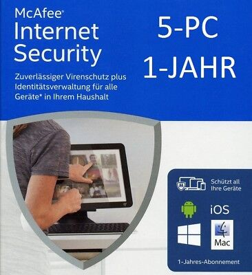 McAfee Internet Security 2016 5 Geräte / 1 Jahr (AntiVirus) Deutsch / KEY