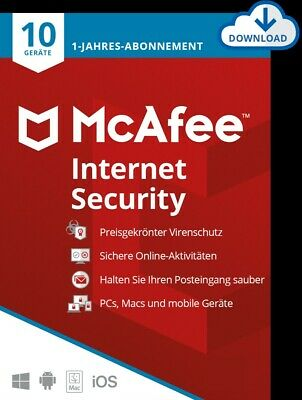 McAfee Internet Security 2016/2017/2018 *10 Geräte / 1 Jahr* (AntiVirus) / KEY