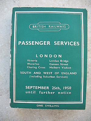 British Railways Southern Region Passenger Timetable Sep 1950 to 1951 incl Map