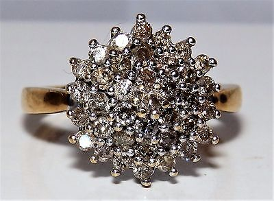 9CT YELLOW  GOLD 0.5CT DIAMOND  CLUSTER COCKTAIL RING Size O