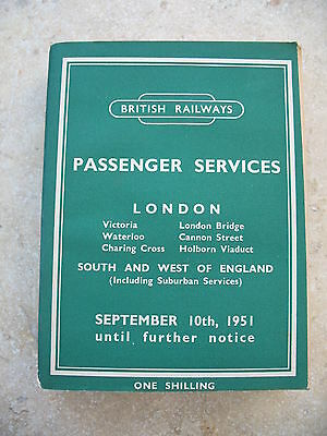 British Railways Southern Region Passenger Timetable Sep 1951 to 1952 incl Map