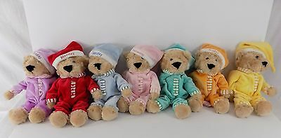 FAO Schwarz Sleepy Time Teddies 7 Days Week Plush Stuffed Animal Bears