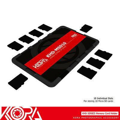KORA Ultra Slim Credit Card size Memory Card Holder for 10 Micro SD MSD TF Cards