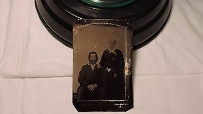 tintype antique photo handsome man mother in bonnet smiling tinted beard nice