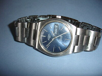 Rotary Automatic Mens 21 Jewel Day Date vintage Swiss watch Stainless