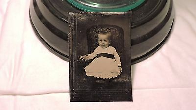 tintype antique photo darling baby infant in mourning belt cute adorable doll