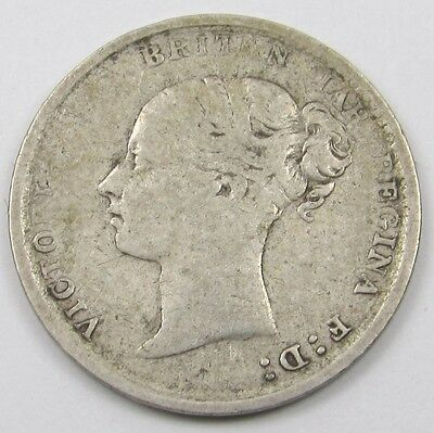 QUEEN VICTORIA YOUNG HEAD SILVER THREEPENCE COIN dated 1884
