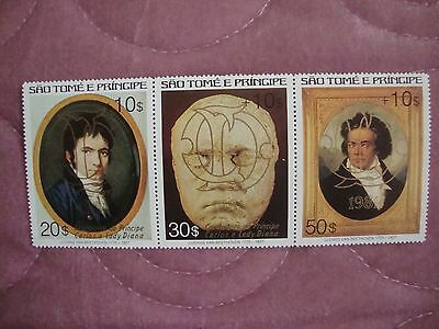 Wedding 1981 Charles & Diana St Thomas & Prince Is. surcharged stamps gold ovpt
