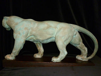 "Original Art Deco Sculpture MARCEL A. BOURAINE ""Tiger""  78 cm"