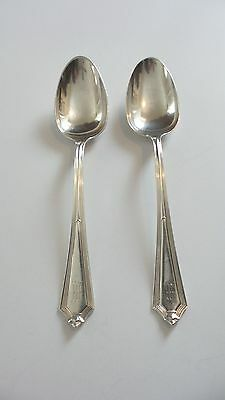 "Pair Vintage Gorham ""plymouth"" Sterling Silver 8.5"" Serving Spoons, Monogram ""m"""