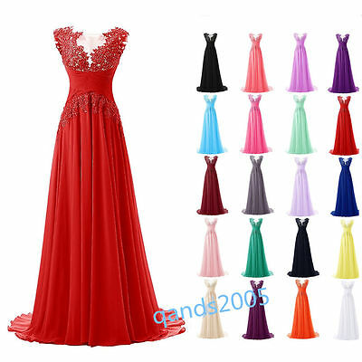 Long Chiffon Lace Bridesmaid Formal Gown Ball Party Evening Prom Dress