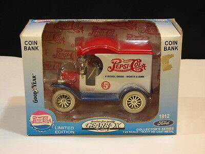 Rare 1912 Ford Diecast Pepsi Delivery Truck Bank With Goodyear Tires With Box