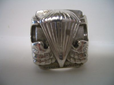 Vintage Us Army Airborne Paratrooper Silver Ring