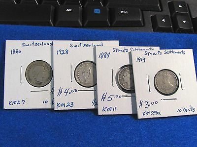 2 coins SWITZERLAND & 2 coins Straits Settlement--SILVER-4 total.    iTEM #4029