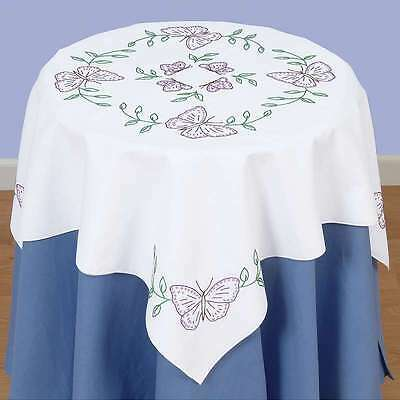 Stamped White Perle Edge Table Topper 35 Inch X 35 Inch-Butterflie 013155353075
