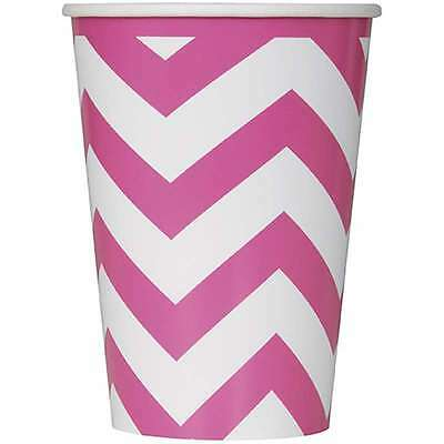 Paper Cups 12oz 6/Pkg-Hot Pink Chevron 011179385867