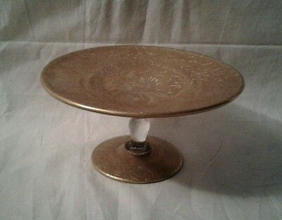 Glastonbury-Lotus Gold Encrusted Compote Flanders + Unknown Etch