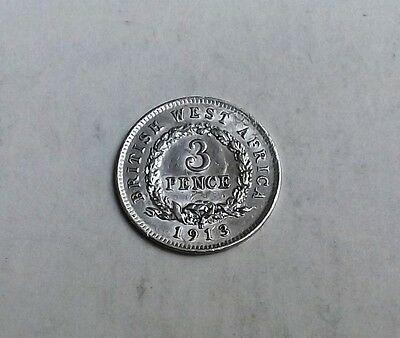 British West Africa George V 1913 Threepence  Nice Rare Coin