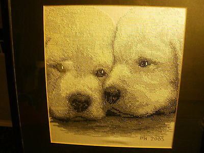 Lovely Completed Cross Stitch Picture,  2005, Puppies
