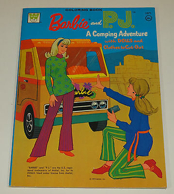 Vintage Whitman 1973 BARBIE PJ CAMPING ADVENTURE Coloring Book UNUSED Uncolored