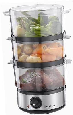 Russell Hobbs Food Collection Compact Food Steamer, 7 L  Brushed Stainless Steel