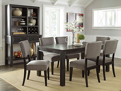 KENDALL - 7pcs Modern Rectangular Dining Room Table & Gray Chairs Set Furniture
