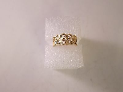 Diamond Cut Filigree Heart Band Ring 14K Yellow Gold Size 3 1/2  Marked 'arr