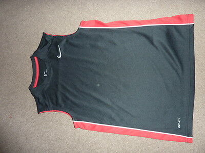 Boys NIKE vest top dri fit black and red age 10 to 12 years