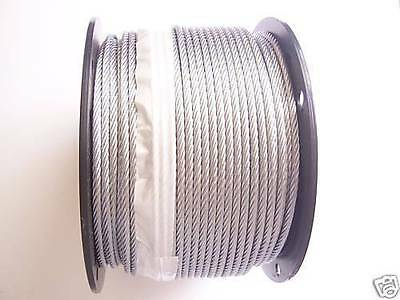 "Galvanized Wire Rope Cable 3/16"", 7x19: 50,100, 200, 250, 300, 500, 750, 1000 Ft"