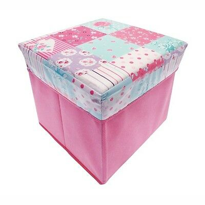 Patchwork Cube Storage Chest, Toy Storage Box, Foldable, Pop Up, 30x30x32cm