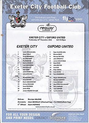 Exeter City V Oxford United League Two Teamsheet  26/12/2012
