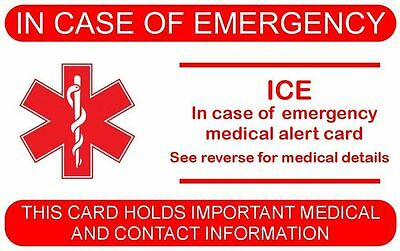 ICE- In Case of Emergency Medical Card /Three Colours /Clear Sleeve protector.