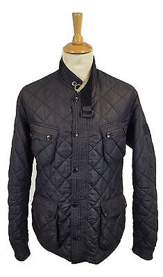 #461 Barbour Mens Tokito Limited Edition Black Motor Cycling Quilt Jacket, L/XL
