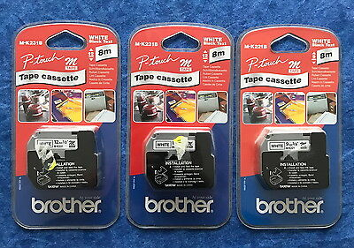 3 Brother P-Touch tape cassette M-K221BZ NEUF