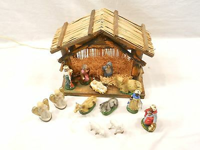 Nativity Scene, Manger And Figures, Made In Italy,  Lighted
