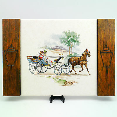 VTG Dal-Monte Mexico Hand Etched Wood Mounted Tile Trivet Horse Carriage Buggy