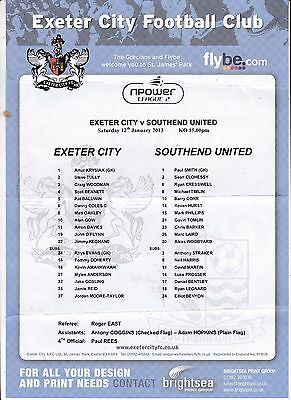 Exeter City V Southend United League Two Teamsheet  12/1/2013