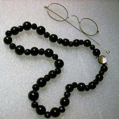 Genuine Whitby Jet bead necklace,pearl clasp..53g.mourning black/Goth/Victorian