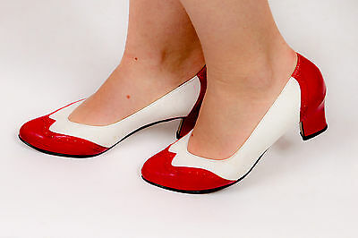 Vintage red & white brogue heels by Auditions