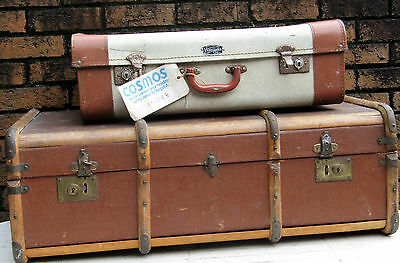 vintage wood banded steamer trunk ideal storage or coffee table + retro trunk
