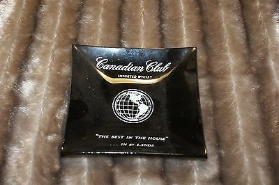 "Canadian Club Ashtray ""THE BEST IN THE HOUSE"" In 87 Lands Smokey Gray Glass"