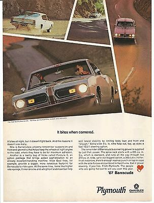Vintage 1967 Plymouth Barracuda Print Ad Muscle Car Advertisement