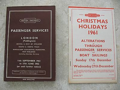 British Railways Western Region Passenger Timetable Sep 1961 inc Map and Alts
