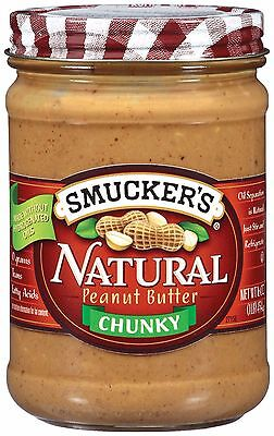 3 jars Smucker's Peanut Butter Natural 16 oz jar chose smooth or chunky pb