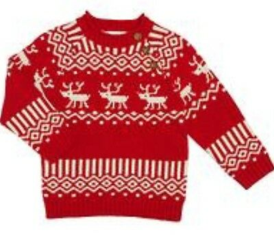 John Lewis Reindeer Fairisle Baby Christmas Jumper Size 6/9months New With Tags