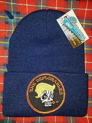 """DONALD TRUMP """"The Deplorables"""" EMBROIDERED PATCH BEANIE CAP HAT"""