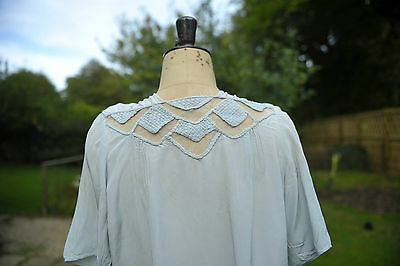 VINTAGE 20s SILK BLOUSE blue, twenties, loose fit , embroidered - Size 14
