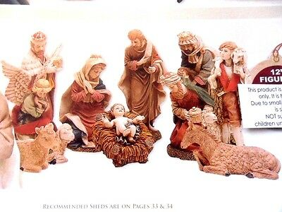 "Nativity set of 11 figures, Most are 11"" tall, Traditional design."